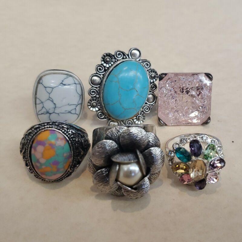 Large Chunky Fashion Ring Lot 6 Piece Crystal Rhinestones Art Glass