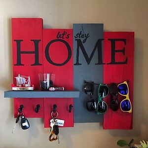 """Let's Stay Home"" key rack"