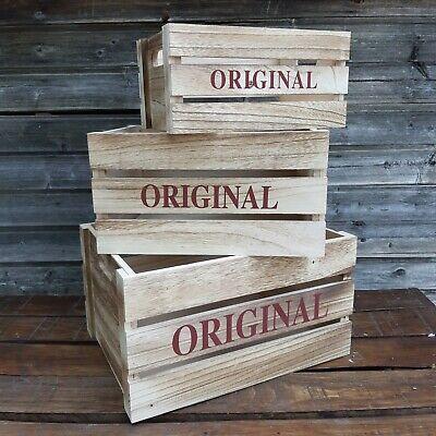 Cajas fruta artesanas madera marrón vintage decoración - Orden casa 3 unidades