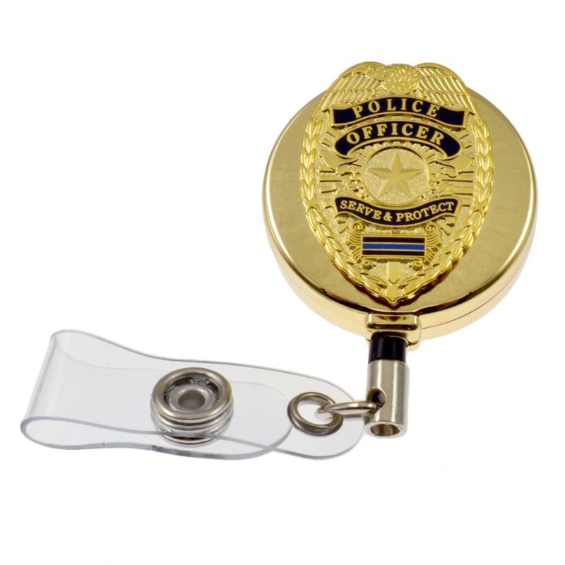 Police Officer Blue Line Gold Retractable Badge Reel Security ID Card Holder