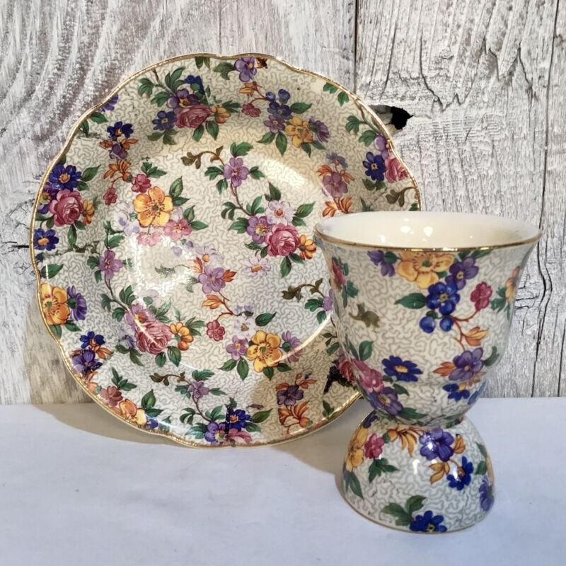VTG ERPHILA WARWICK CHEERY CHINTZ EGG CUP & SMALL BOWL FLORAL GERMANY 30s 40s