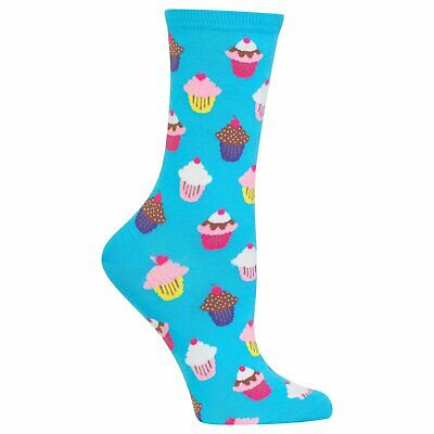 Hot Sox Colorful Cupcake Novelty Crew Socks, Blue/Pink, OSFM, New