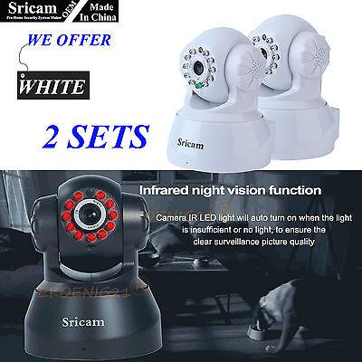 2 Set of OEM Sricam 720P Wireless IP Camera WiFi Gage Night Vision Cam White