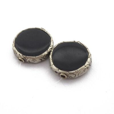 Black Onyx 2 Beads Tibetan Nepalese Handmade Tibet Nepal By Eksha BD3199