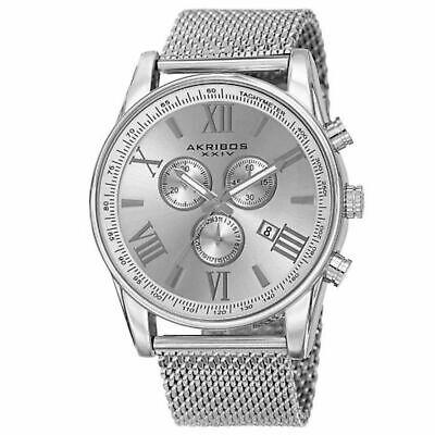 NEW Akribos XXIV AK813SS Men's Haute-Monde Chronograph SS Band All Silver Watch