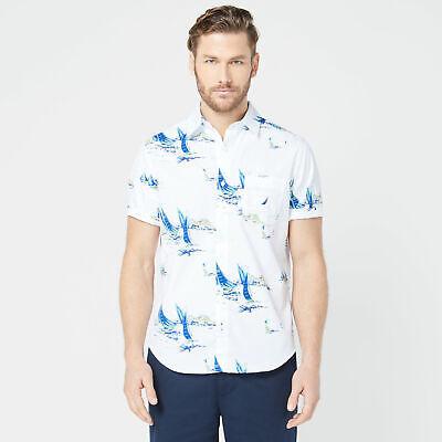 Nautica Mens Classic Fit Large Boat Print Shirt