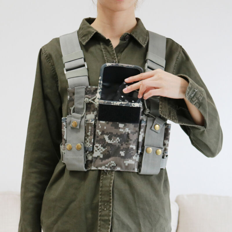 Camouflage​ Chest Harness Bag Front Pack Pouch Holster Vest Rig For RADIO
