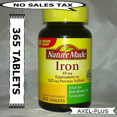 Nature Made Iron 65 mg - 365 Tablets Dietary Supplement  EXP 08/2021 NEW ! Natural Iron Supplements