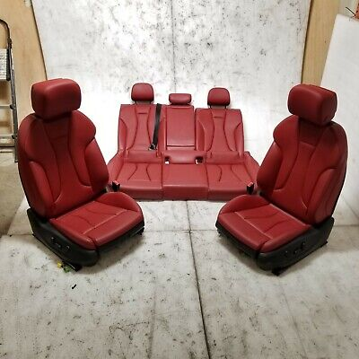 2015-2020 AUDI A3 S3 MAGMA-RED LEATHER SEATS w/ ANTHRACITE-BLACK STITCHING OEM
