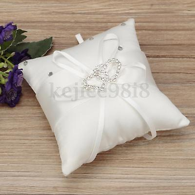 Double Heart Wedding Party Pocket Ring Pillow Cushion Bearer Crystal Rhinestone