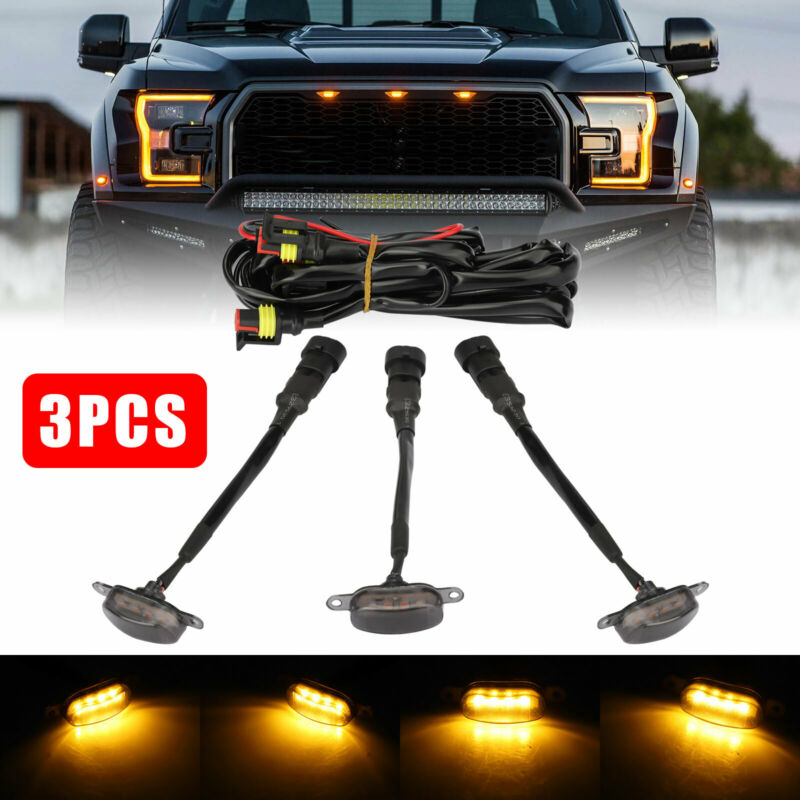 3x Raptor Style Smoked Lens Amber LED Front Grille Running Lights For Ford F150