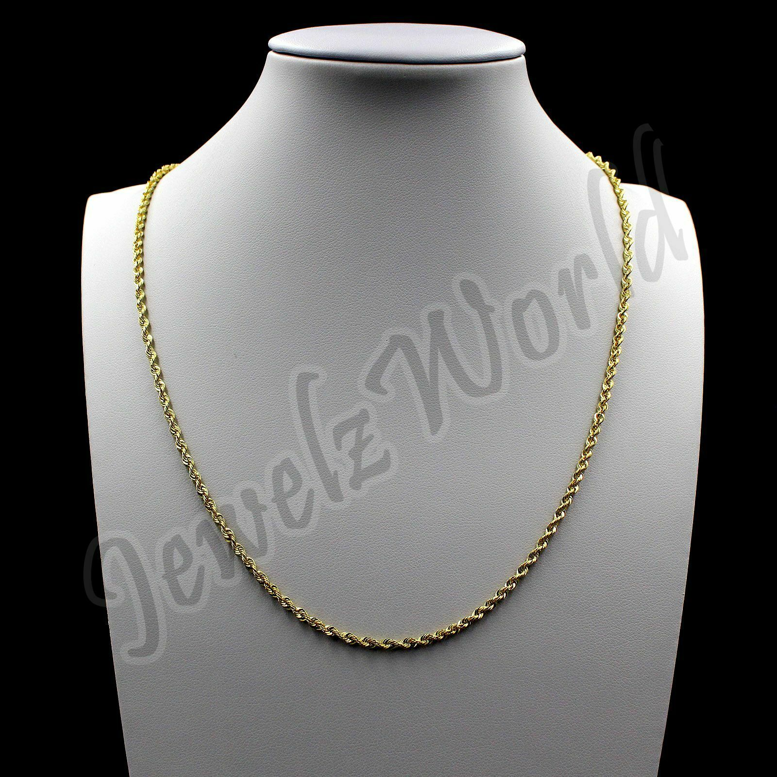 """10K Solid Yellow Gold Rope Figaro Cuban Link Chain Necklace 16""""- 30"""" Mens Womens"""
