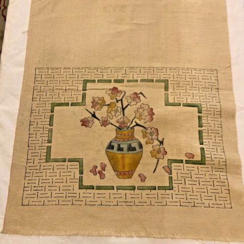 Arts & Crafts Table Runner Flax Linen Hand Painted Vase with Flowers 16x42