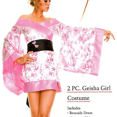 COSTUME PARTY PINK  GEISHA KIMONO GIANT BUTTERFLY OBI AT BACK BY LEG AVENUE