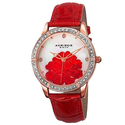 NEW Akribos AK805RD Women's Crystal White Mother of Pearl Dial Red Leather Watch