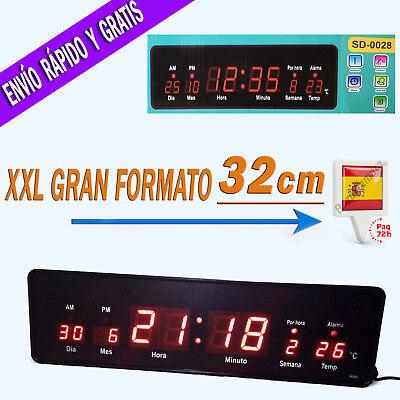 Reloj de Pared Digital Grande Oficina LED Rojo con Temperatura y Calendario...