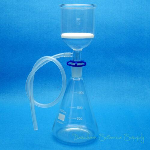 1000ml,Glass Suction Filter Kit,350ml Buchner Funnel & 1 Litre Erlenmeyer Flask
