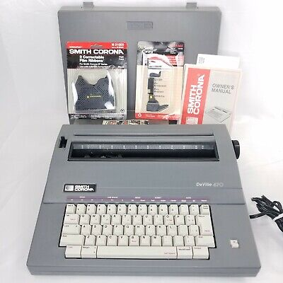 Smith Corona Deville 470 Portable Electric Typewriter Ribbon Lot Tested Works