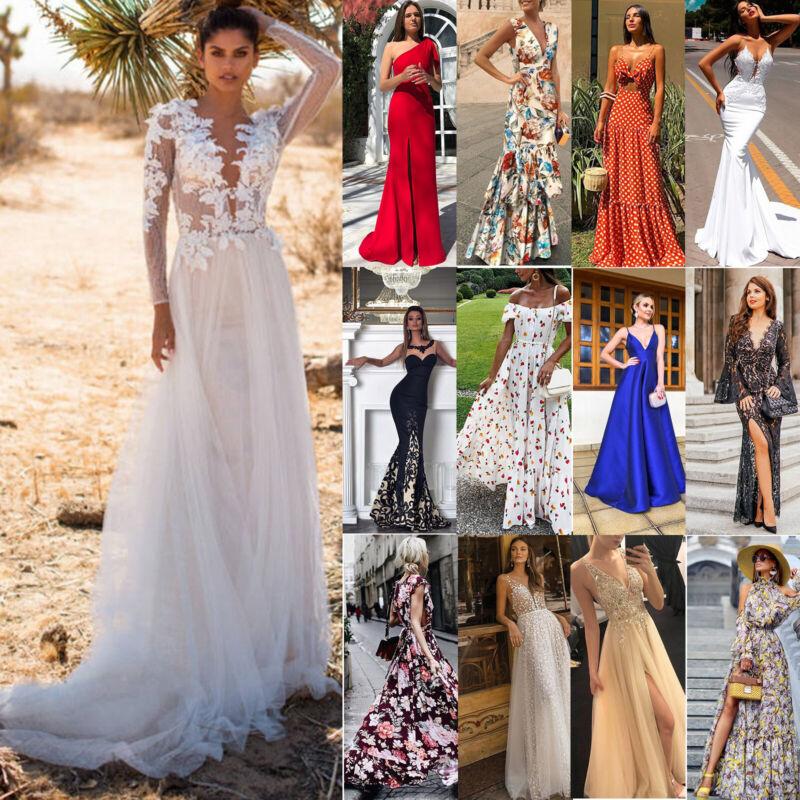 Damen Sommer Maxikleid Party Cocktailkleid Abendkleider Ballkleid Hochzeit Kleid