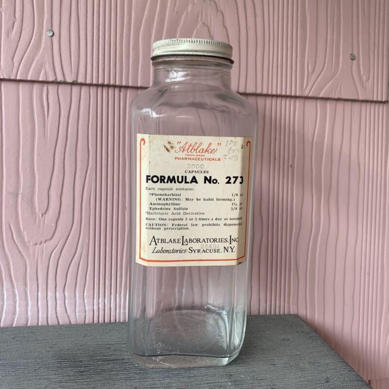 Original Label Vintage Empty Pharmacy 2000 Pill Bottle Narcotics Medicine Drug