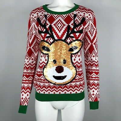 Ugly Christmas Sweater Rudolph Reindeer Reversible Filp Sequin Large 11-13 #R09 ()