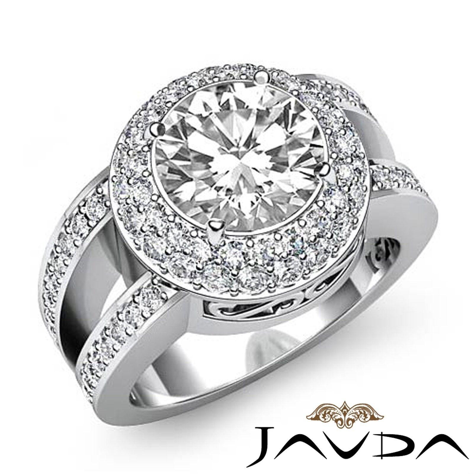 3.64ct Vintage Duet Halo Pave Round Diamond Engagement Ring GIA G-SI1 White Gold