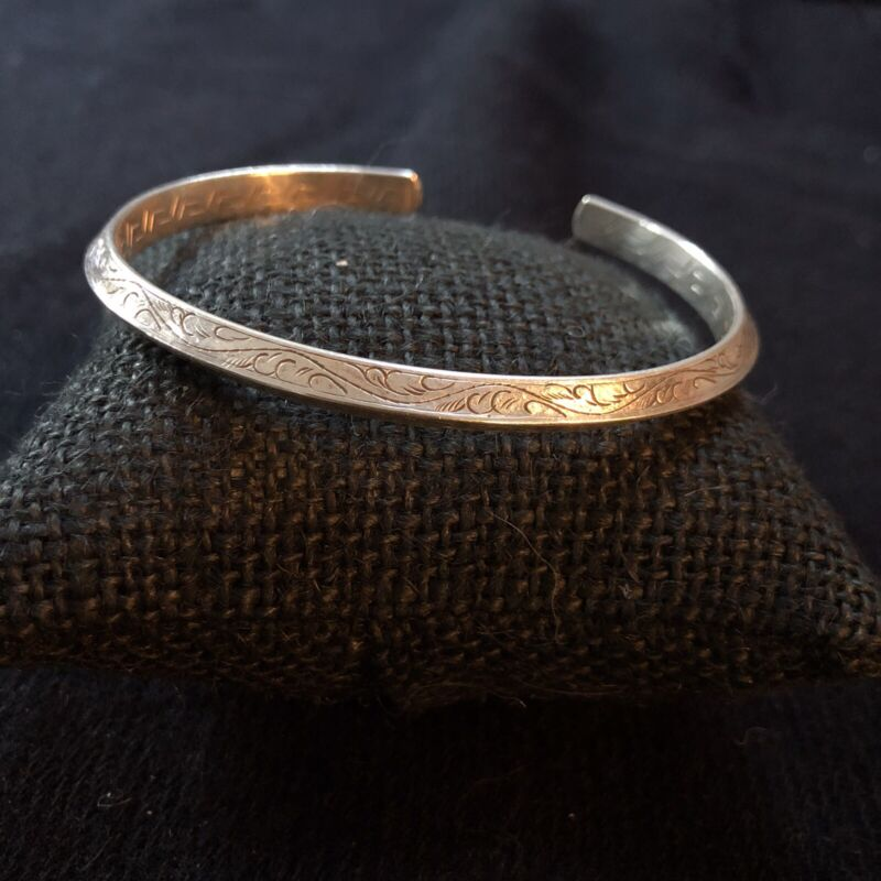 Men Or Women's Silver Bracelet With Carving On Both Sides Of Cuff. From Nepal