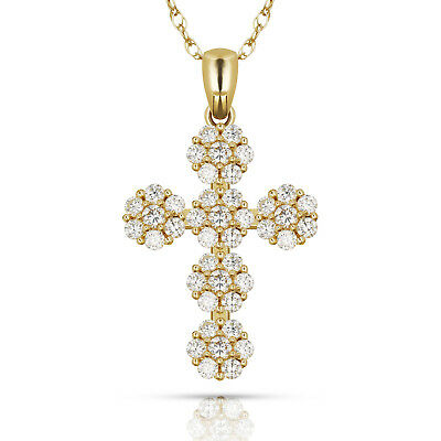0.55CTW Brilliant Round Cut Cross Pendant Solid 14K Yellow Gold Charm With Chain