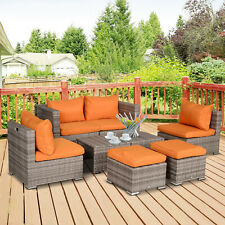 8pc Outdoor Patio Furniture Set All Weather Wicker Rattan Sofa Set