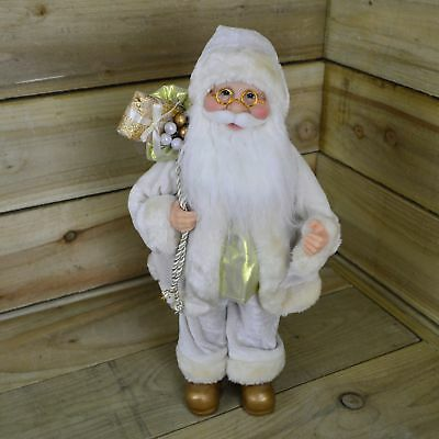 40cm Standing Santa Decoration / Ornament in Ivory Velvet & Gold Outfit
