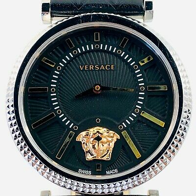 Estate Versace V-Helix stainless steel wristwatch with black dial 38mm, quartz