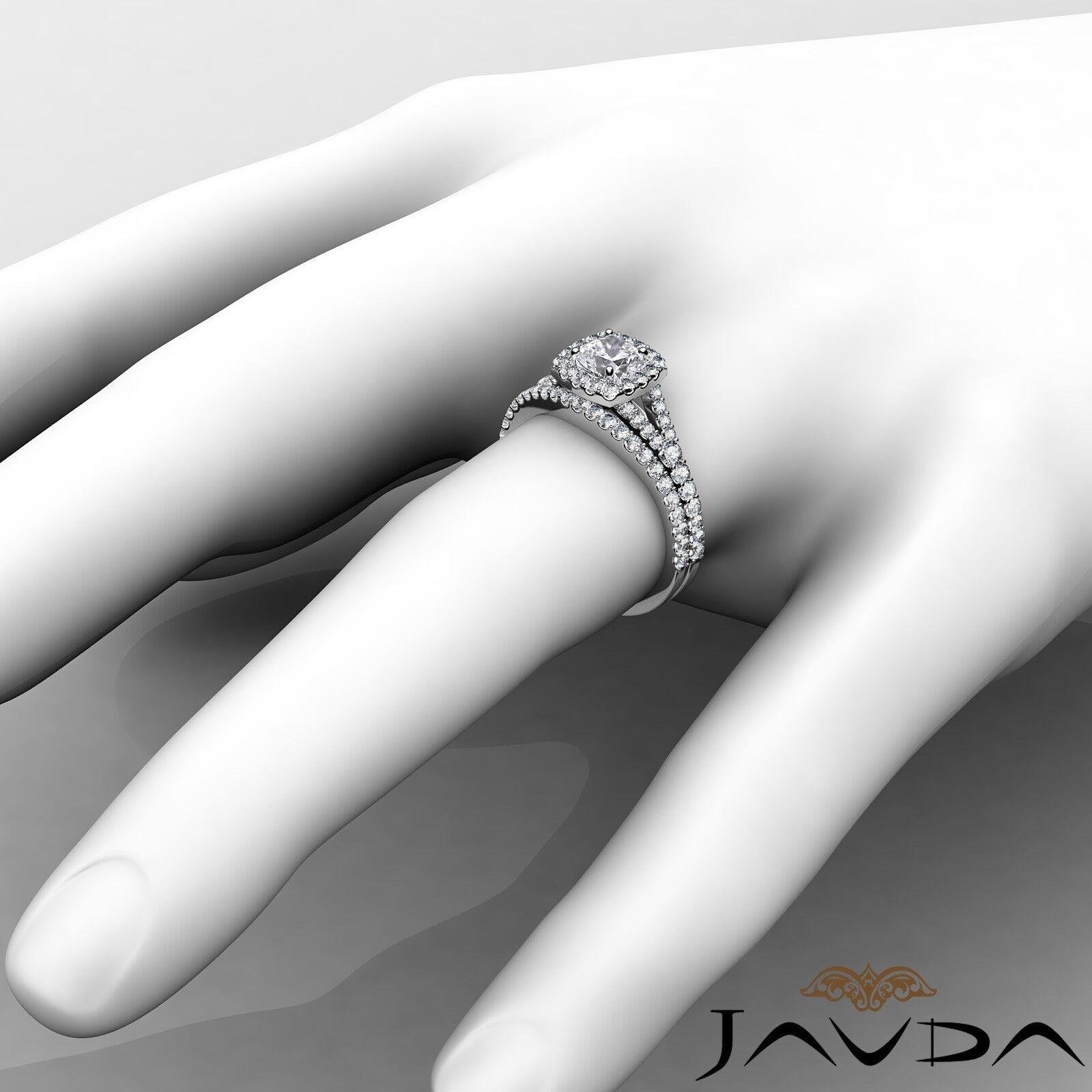 1.55ctw U Cut Pave Halo Bridal Cushion Diamond Engagement Ring GIA F-VVS2 W Gold 4