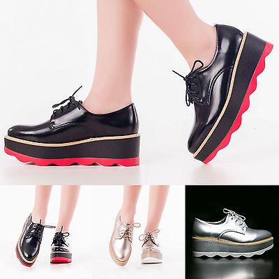 scarpe donna stringate lacci carrarmato doppia zeppa platform mocassino KS7219