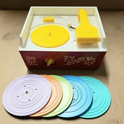 1971 FISHER PRICE MUSIC BOX RECORD PLAYER COMPLETE WITH RECORDS - WORKS