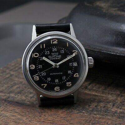 Vtg Glycine Combat 645A Automatic Running Military Compressor Style Watch 34mm