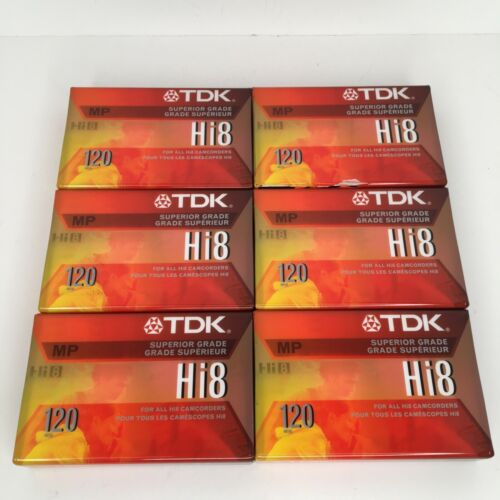 Lot of 6 TDK Hi8 MP 120 Superior Grade Camcorder Blank Tapes - Made in Japan