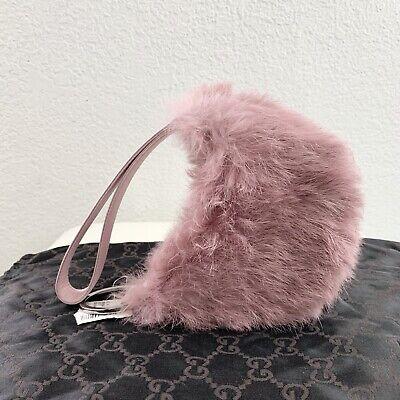 NEW NWT Vintage GUCCI GG Pink Lilac Rabbit Fur Satin Purse Clutch DUSTBAG