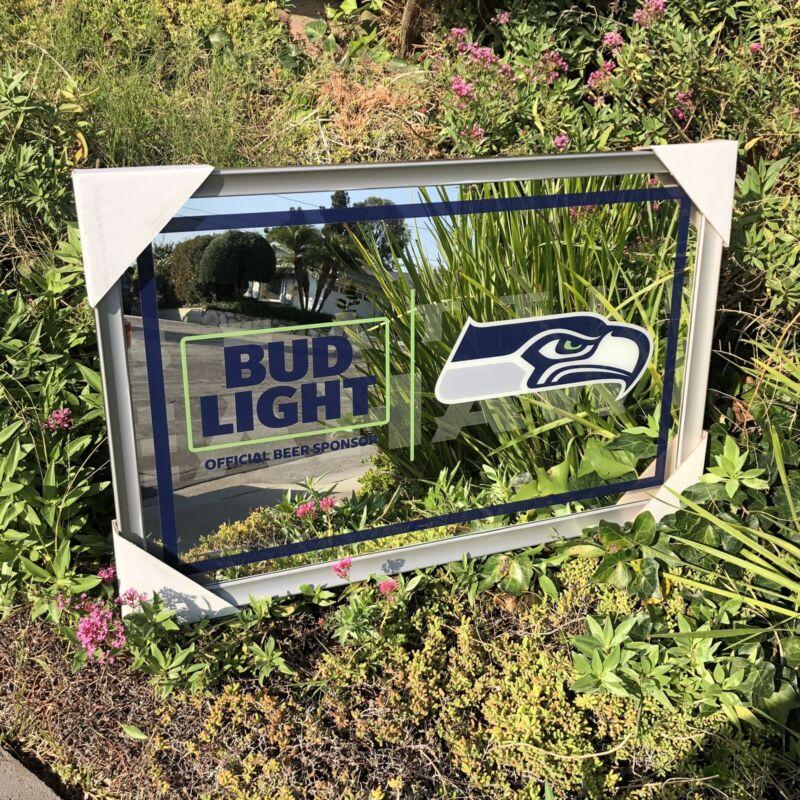 "Bud Light Seattle Seahawks Football NFL Beer Bar Man Cave Mirror ""New"""