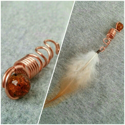 Feather loc jewelry feather for hair amber dreadlock bead dread braid jewelry