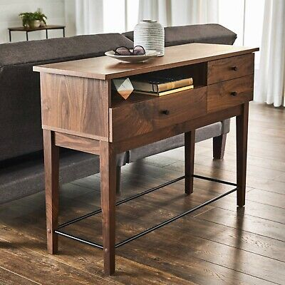 Walnut Wood Console Couch Sofa Table With Storage Drawers Metal Accents Display