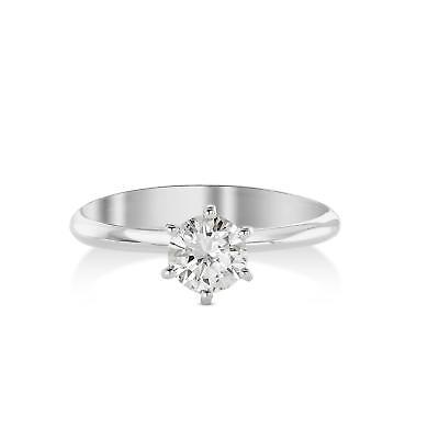 1/2 CARAT DIAMOND SOLITAIRE ENGAGEMENT RING ROUND CUT D VS2 14K WHITE (1/2 Carat Diamond 14k)
