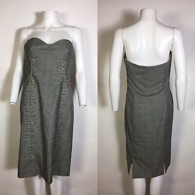 Rare Vtg New Gianni Versace Gray 1998 Dress 44 L