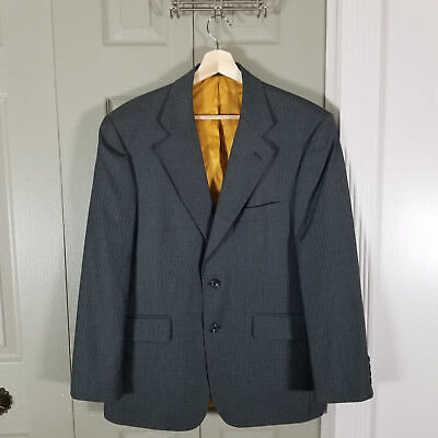 Alexandre London Mens Jacket Size 40 Short Savile Row Wool Gray Pinstripe Lined