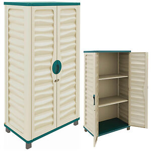 Outdoor Storage Plastic Utility Cabinet Garden Garage House Shed Patio Tools New Ebay