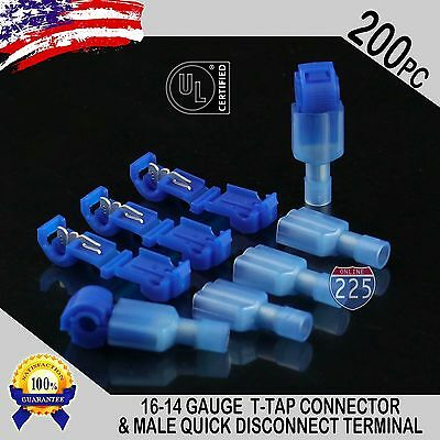 (200) T-Taps + Male Disconnect Wire Connectors Blue 16-14 AWG Gauge Terminals UL
