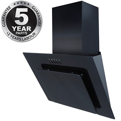 SIA AGL61BL 60cm Black Angled Glass Chimney Cooker Hood Kitchen Extractor Fan