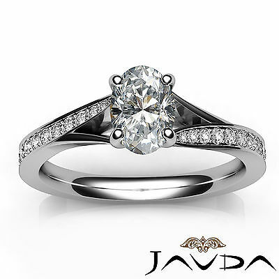 Split Shank Oval Diamond Engagement Cathedral Ring GIA Certified E VVS2 1.06 Ct 3