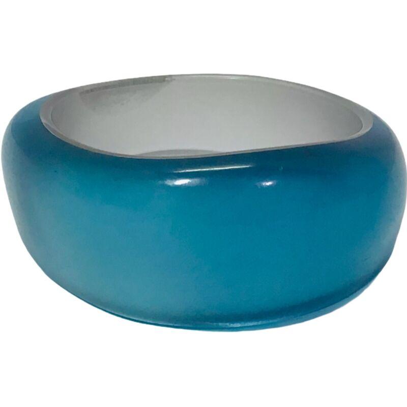 Vintage Lucite Bangle Bracelet Extra WIDE Shiny Powder Blue CHUNKY