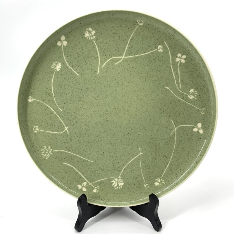 """Harkerware Green Clover by Russel Wright 10"""" Plate Signed"""