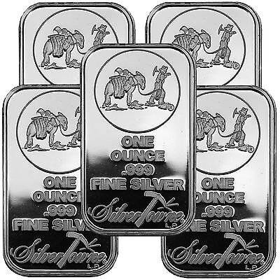 SilverTowne Logo 1oz .999 Fine Silver Bar LOT OF 5 #6333